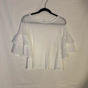 H&M white 3/4 puffy sleeve blouse a bit sheer